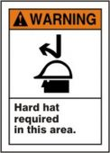 - ANSI Warning Safety Label: Hard Hat Required in This Area