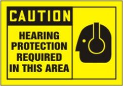 - OSHA Caution Safety Label: Hearing Protection Required In This Area