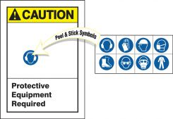 - ANSI Caution Safety Label: Protective Equipment Required (With Peel & Stick Symbols)