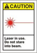 - ANSI Caution Safety Label: Laser In Use - Do Not Stare Into Beam