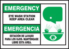 - Bilingual Emergency Safety Label: Eye Wash Station - Keep Clear