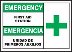 - Bilingual Emergency Safety Label: First Aid Station