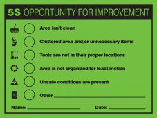 - 5S Improvement Opportunity Label