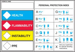 - HMCIS Safety Label: Health Flammability Instability PPE (PPE Index)