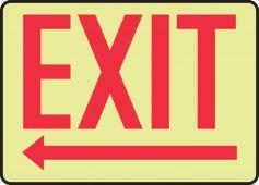 - Safety Sign: Exit (Left Arrow Below - Glow)