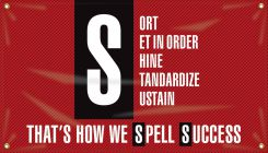- 5S Motivational Banner: Sort - Set In Order - Shine - Standardize - Sustain - That's How We Spell Success