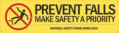 - Motivational Banner: Prevent Falls - Make Safety A Priority (National Safety Stand-Down 2019 Yellow)