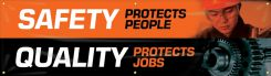 - Safety Motivational Banners: SAFETY PROTECTS PEOPLE, QUALITY PROTECTS JOBS