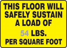 - Custom Safety Sign: This Floor Will Safely Sustain A Load Of (Insert Figure) LBS. Per Square Foot
