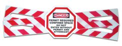 - OSHA Danger Custom Man-Way Cross™ Barrier Legends: Confined Space - Permit Required