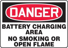 - OSHA Danger Safety Sign: Battery Charging Area No Smoking Or Open Flame
