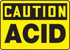 - OSHA Caution Safety Sign: Acid