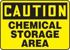 - OSHA Caution Chemical Safety Sign: Chemical Storage Area