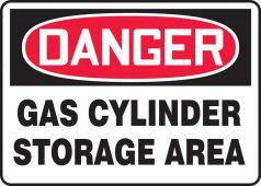 - OSHA Danger Safety Sign: Gas Cylinder Storage Area