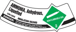 - Cylinder Shoulder Labels: Ammonia, Anhydrous, Liquefied