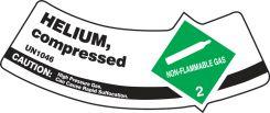 - Cylinder Shoulder Labels: Helium, Compressed