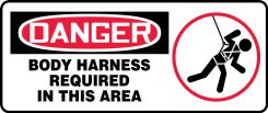 - OSHA Fall Arrest Safety Sign with Graphic: Body Harness Required In This Area