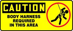 - OSHA Caution Fall Arrest Safety Sign: Body Harness Required In This Area