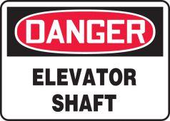 - OSHA Danger Safety Sign: Elevator Shaft
