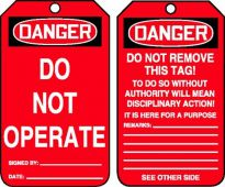 - OSHA Danger Safety Tag: Do Not Operate