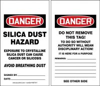 - OSHA Danger Safety Tag: Silica Dust Hazard