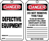 - OSHA Danger Safety Tag: Defective Equipment