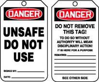 - OSHA Danger Safety Tag: Unsafe - Do Not Use