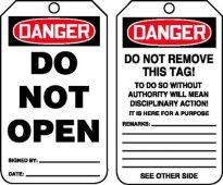 - OSHA Danger Safety Tag: Do Not Open