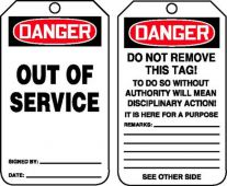 - OSHA Danger Safety Tag: Out Of Service