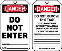 - OSHA Danger Safety Tag: Do Not Enter