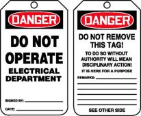 - OSHA Danger Safety Tag: Do Not Operate - Electrical Department