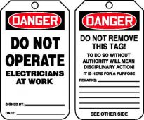 - OSHA Danger Safety Tag: Do Not Operate - Electricians At Work