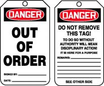 - OSHA Danger Safety Tag: Out Of Order