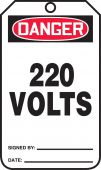 - OSHA Danger Safety Tag: 220 Volts