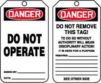 - Jumbo OSHA Danger Safety Tag: Do Not Operate