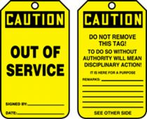 - OSHA Caution Safety Tag: Out Of Service