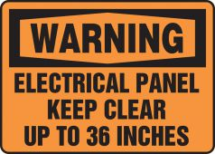 - OSHA Warning Safety Sign: Electrical Panel - Keep Clear Up To 36 Inches