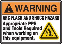 - ANSI Warning Safety Sign: Arc Flash And Shock Hazard