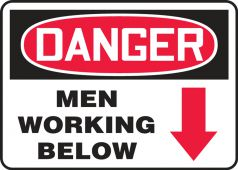 - Contractor Preferred OSHA Danger Safety Sign: Men Working Below