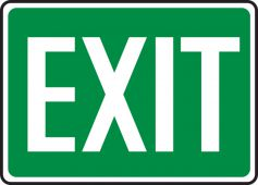 - Safety Sign: Exit (White On Green)