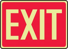 - Glow-In-The-Dark Safety Sign: Exit (Red Background)