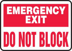 - Safety Sign: Emergency Exit - Do Not Block