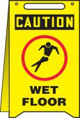 - Fold-Ups® OSHA Caution Safety Sign: Wet Floor - Pisa Mojado