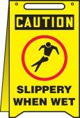 - Fold-Ups® OSHA Caution Safety Sign: Slippery When Wet