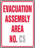 evacuation - Semi-Custom Safety Sign: Evacuation Assembly Area No. (Blank)