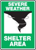 - Severe Weather Safety Sign: Severe Weather - Shelter Area- Emergency Shelter Signs