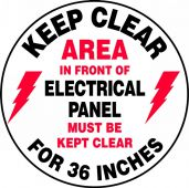 - Slip-Gard™ Floor Sign: Keep Clear - Area In Front Of Electrical Panel Must Be Kept Clear For 36 Inches