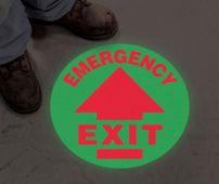 - Glow-In-The-Dark Slip-Gard™ Floor Signs: Emergency Exit (Arrow)