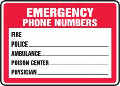 - Safety Sign: Emergency Phone Numbers