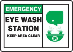 - Emergency Safety Sign: Eye Wash Station - Keep Area Clear